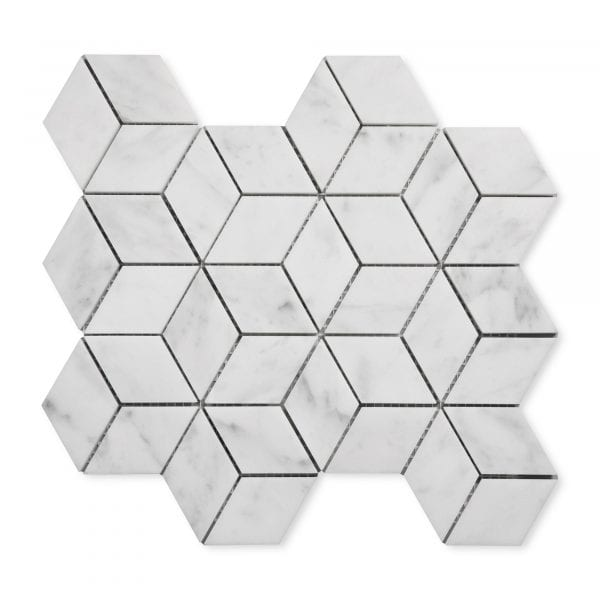 Carrara Bianco Marble - Honed - Diamond Mosaic