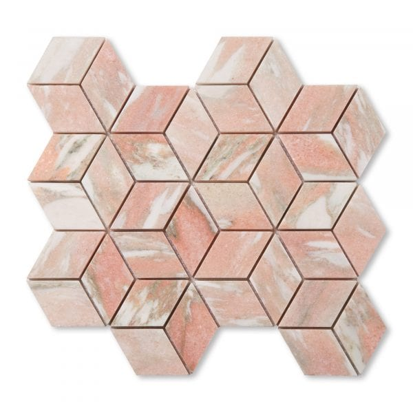 Sample: Norwegian Rose Marble - Honed - Diamond Mosaic