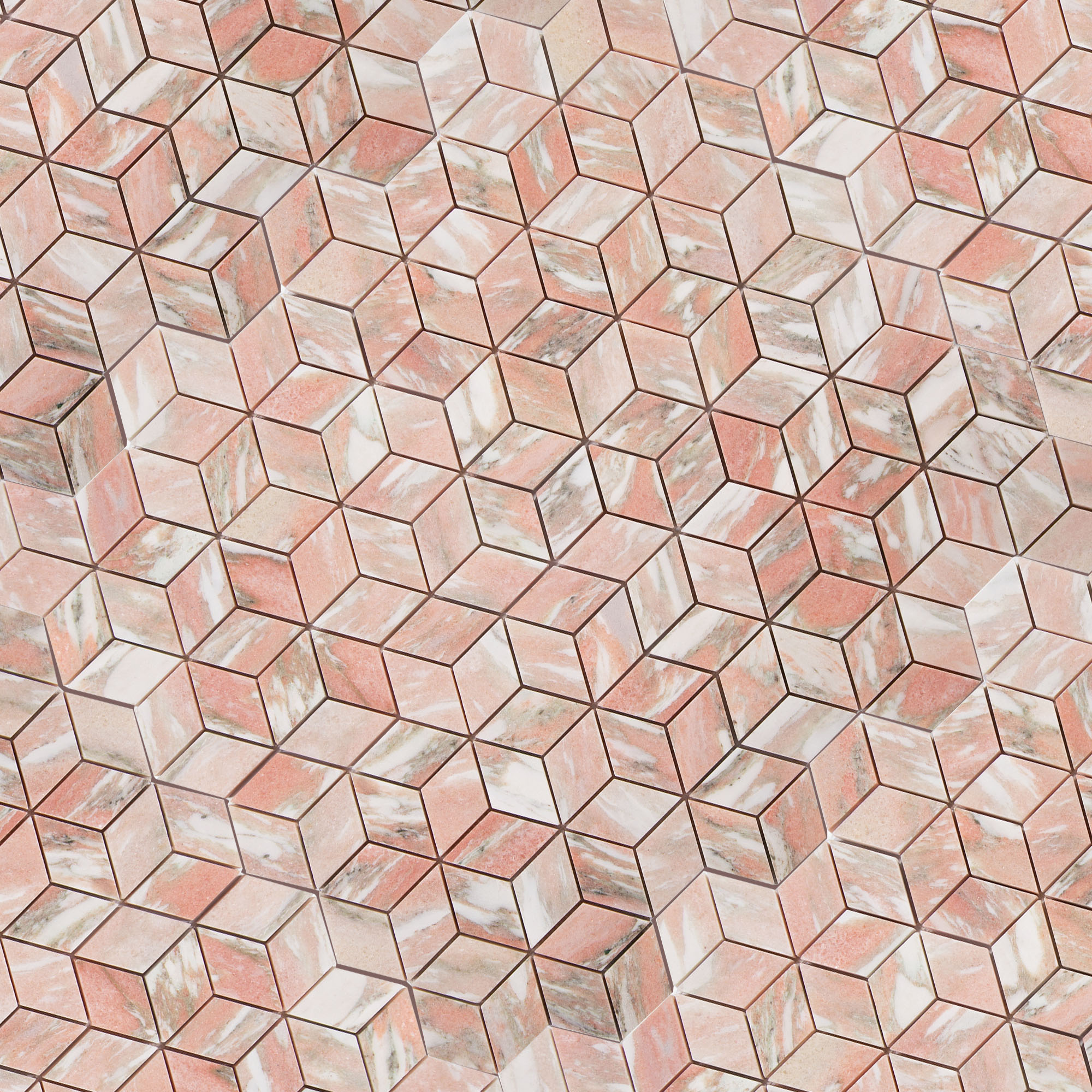 Norwegian Rose Marble - Honed - Diamond Mosaic