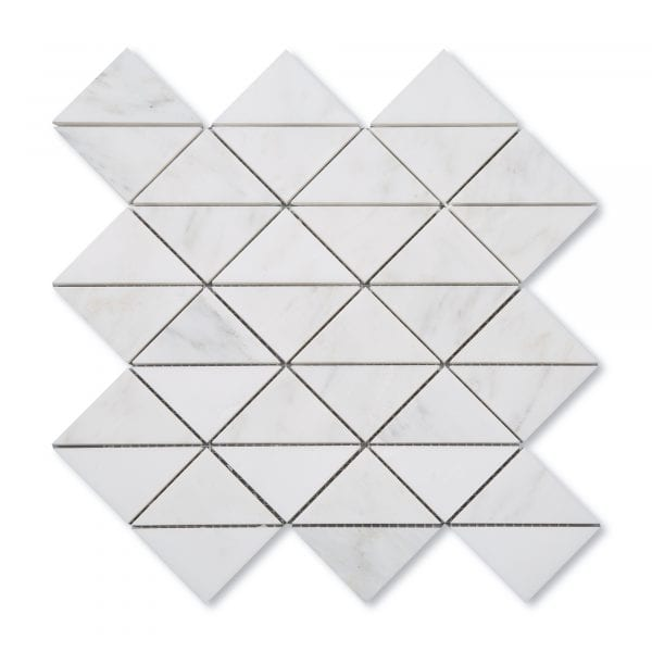 Sample: Casablanca Carrara Marble - Honed - Triangle Mosaic