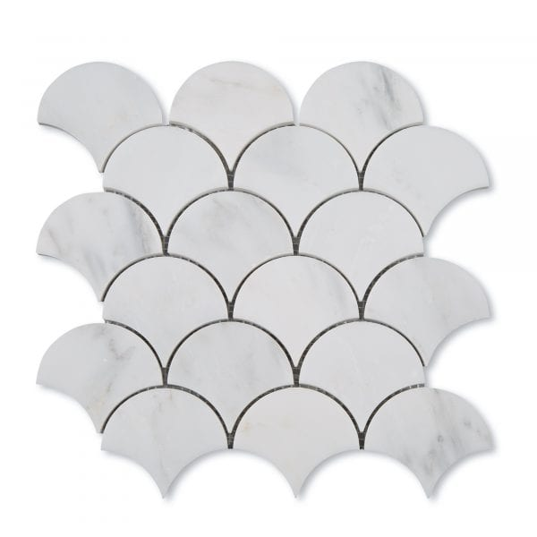 Casablanca Carrara Marble - Honed - Fish Scale Mosaic