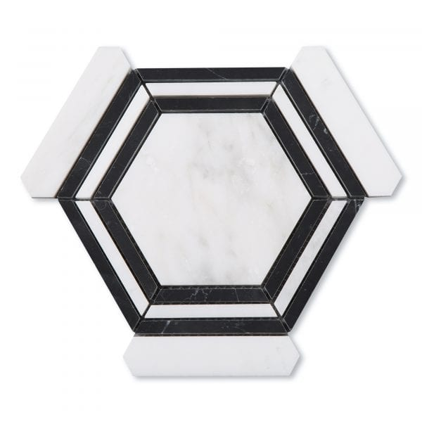 Sample: Casablanca Carrara & Nero Marquina Marble - Honed - Large Hex Mosaic