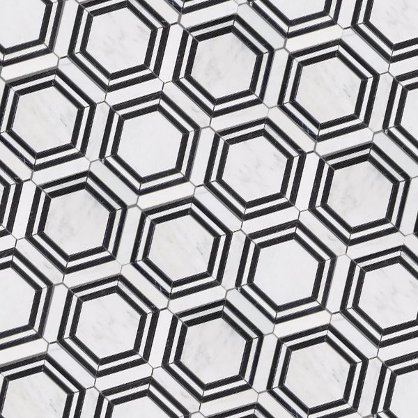 Casablanca Carrara & Nero Marquina Marble - Honed - Large Hex Mosaic