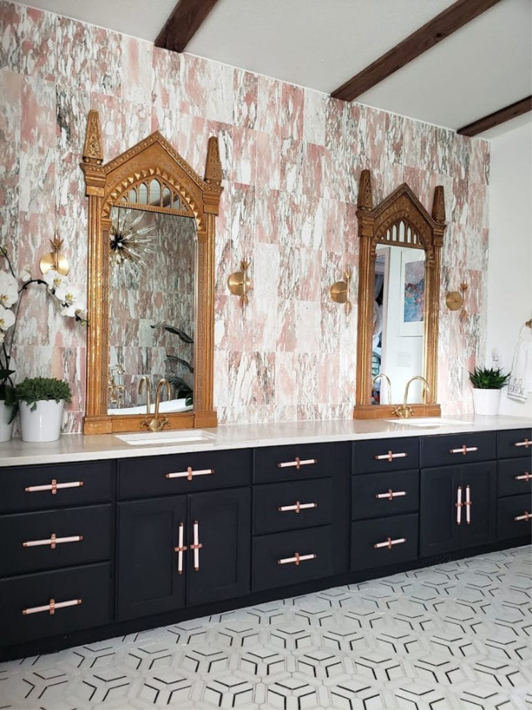 norwegian rose marble tile backsplash
